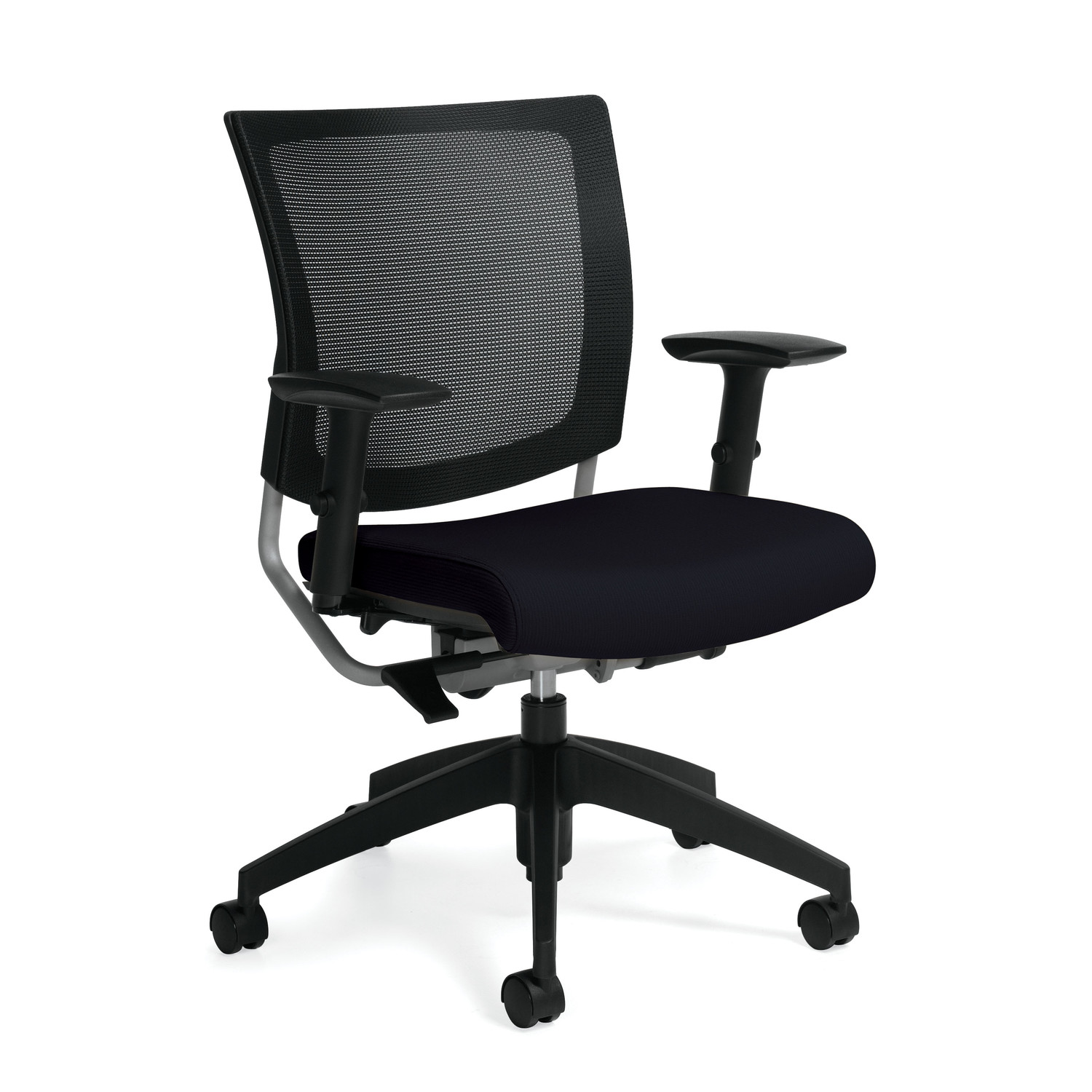 A standard ergonomic chair with a mesh back.