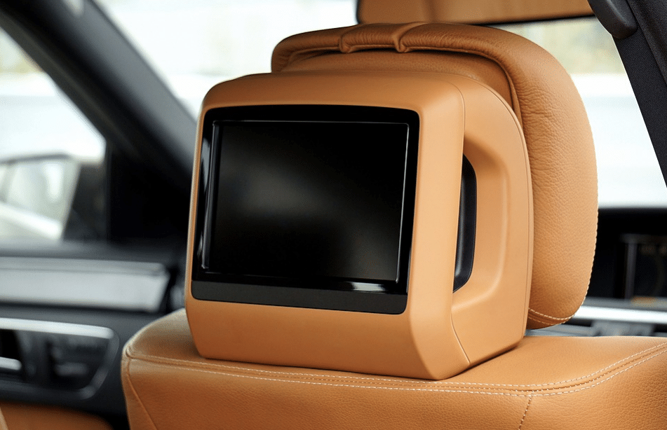brown car seat with tv