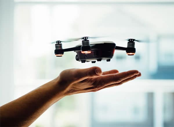 Drone on the person's hand
