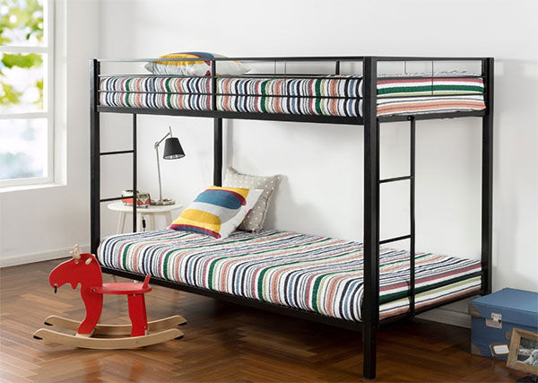 Twin over Twin Classic Metal Bunk Bed with Dual Ladders
