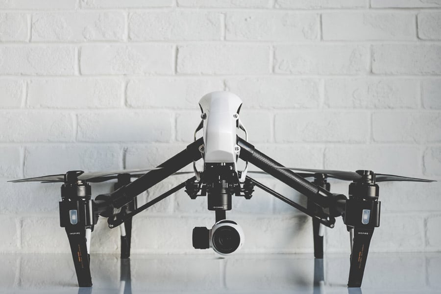 White drone displayed on the table