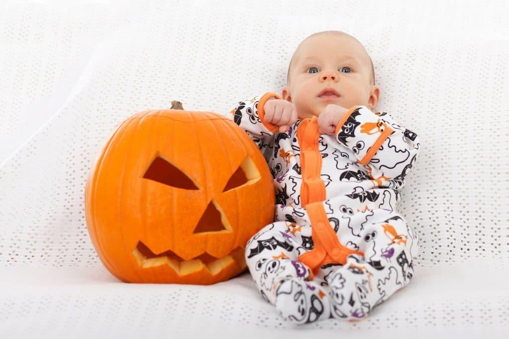 adorable baby in halloween costume