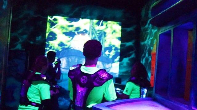 kids playing lasertag