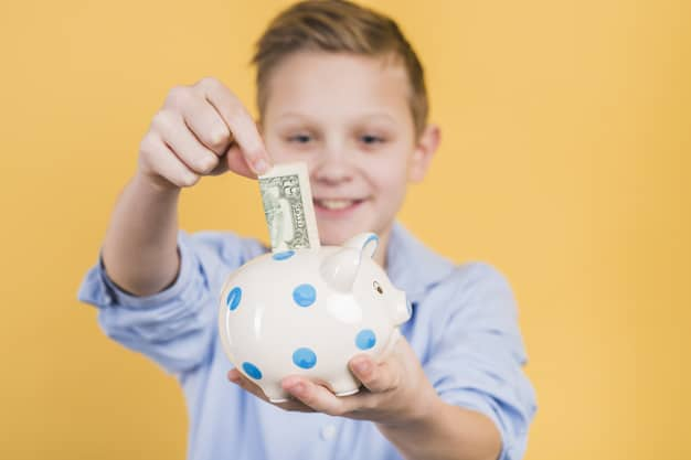 child putting dollar in piggy bank