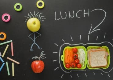 drawing and blackboard showing lunch box