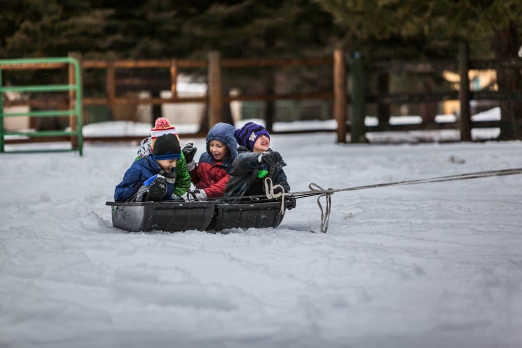 kids having fun in winter