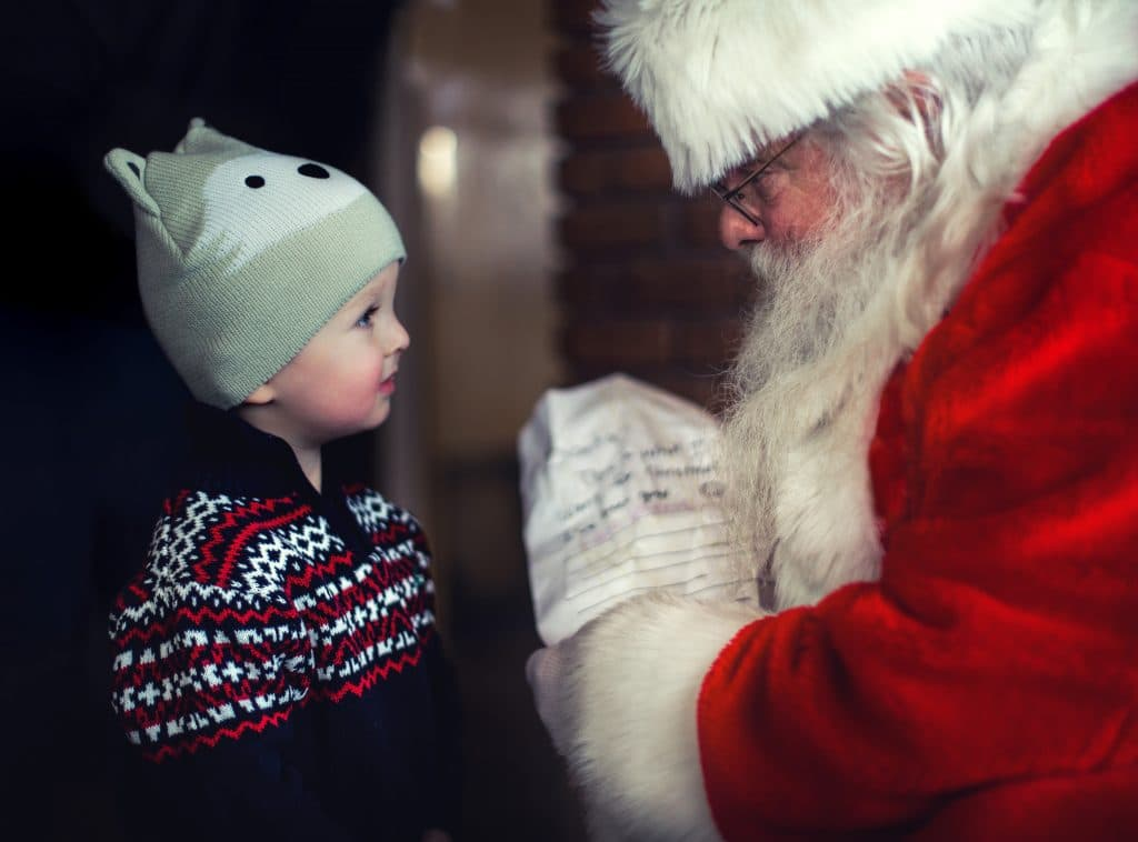 little boy and santa claus