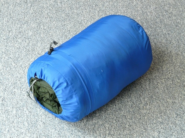 folded sleeping bag