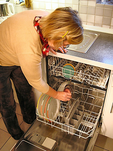 women take some plates on dishwasher machine