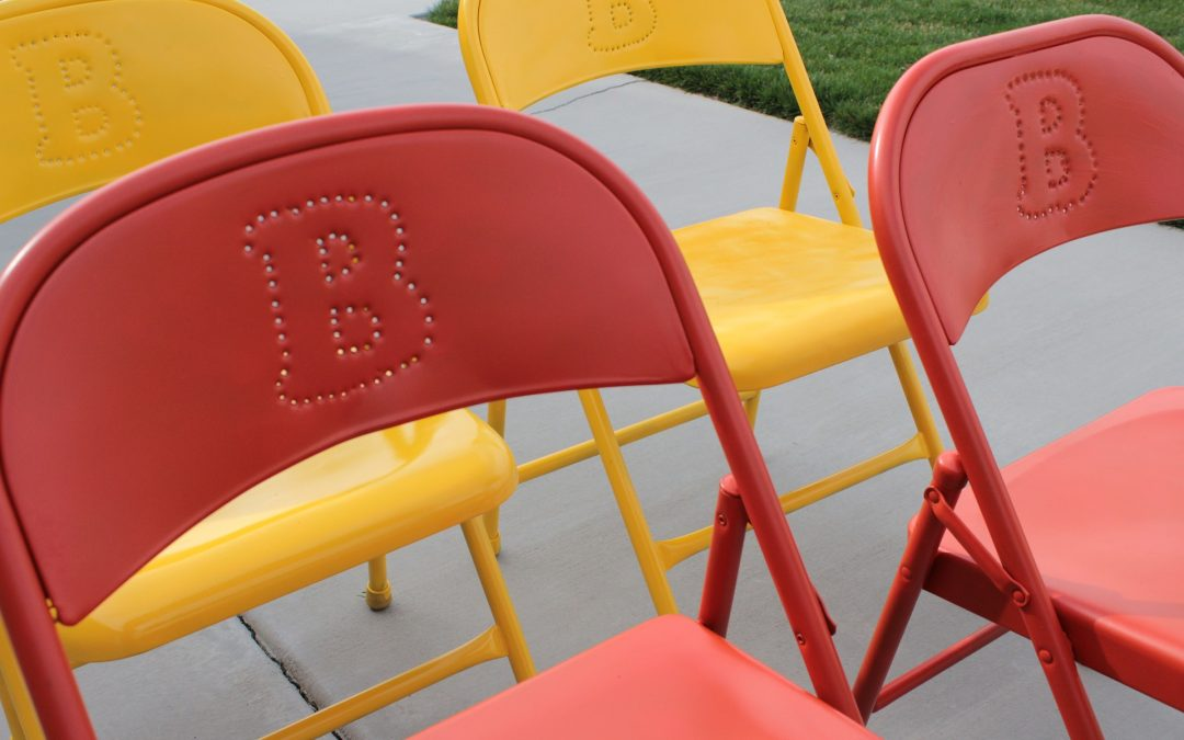 Red and yellow options of the best folding chairs