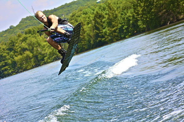 a wakeboarder make some stunts